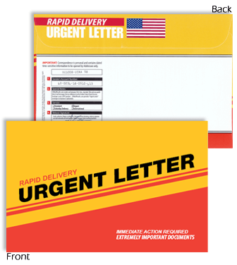 6 x 9 Rapid Delivery URGENT LETTER Red & Yellow